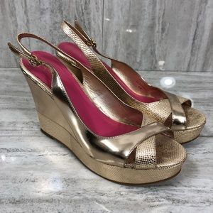 bf11615c675 Lilly Pulitzer Gold Wedge Heel Sandals
